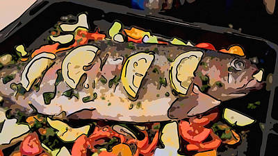 Painting - Delicious Baked Rainbow Trout by Jeelan Clark