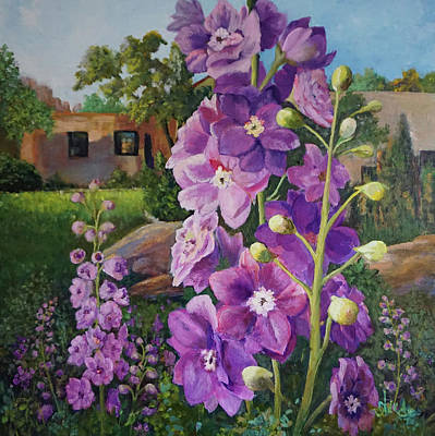 Painting - Delightful Delphiniums by Alika Kumar