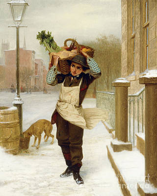 Delivery Boy  Art Print by John George Brown