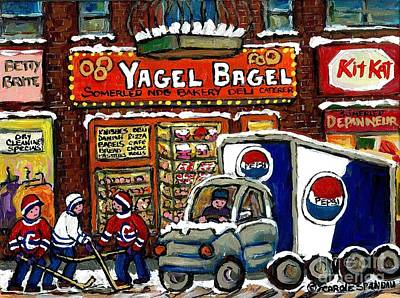 Montreal Storefronts Painting - Delivery Day Yagel Bagel Bakery Pepsi Truck Boys Playing Hockey Best Montreal Hockey Winter Art by Carole Spandau