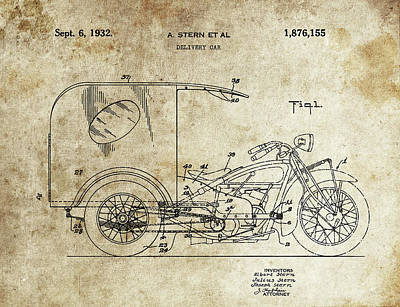 Drawing - Delivery Motorcycle Patent by Dan Sproul