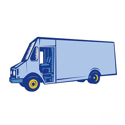Delivery Van Side Woodcut Art Print