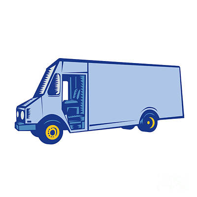 Delivery Van Side Woodcut Art Print by Aloysius Patrimonio