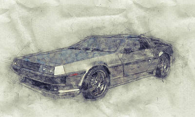 Mixed Media Royalty Free Images - DeLorean DMC-12 - Sports Car 1 - Automotive Art - Car Posters Royalty-Free Image by Studio Grafiikka