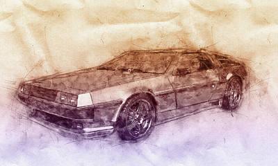 Mixed Media Royalty Free Images - DeLorean DMC-12 - Sports Car 2 - Automotive Art - Car Posters Royalty-Free Image by Studio Grafiikka
