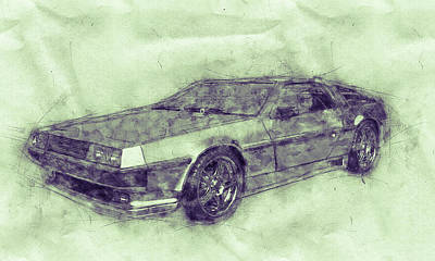 Mixed Media Royalty Free Images - DeLorean DMC-12 - Sports Car 3 - Automotive Art - Car Posters Royalty-Free Image by Studio Grafiikka