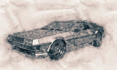 Mixed Media Royalty Free Images - DeLorean DMC-12 - Sports Car - Automotive Art - Car Posters Royalty-Free Image by Studio Grafiikka