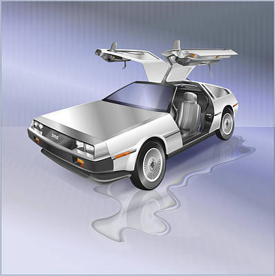Drawing - Delorean by Marty Garland