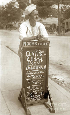 Photograph - Delos C. Curtis  Is Leaning On His Chalkboard Circa 1920 by California Views Mr Pat Hathaway Archives