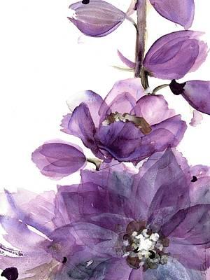 Spring Flowers Painting - Delphinium by Dawn Derman