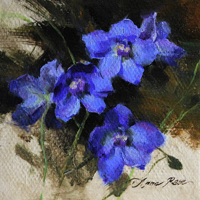 Miniatures Painting - Delphinium I by Anna Rose Bain