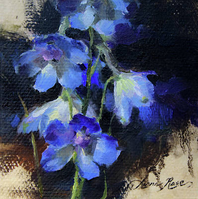 Miniatures Painting - Delphinium II by Anna Rose Bain
