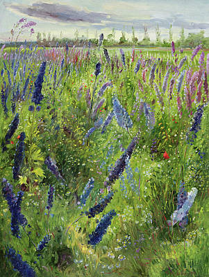 Delphinium Painting - Delphiniums And Emerging Sun by Timothy Easton