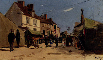 Delpy Hippolyte Camille Rue Pavoise A Dieppe Art Print by Hippolyte Camille Delpy