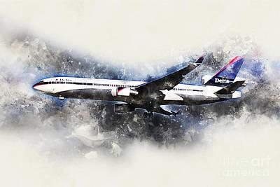 Md Digital Art - Delta Air Lines Mcdonnell Douglas Md-11 Painting by J Biggadike