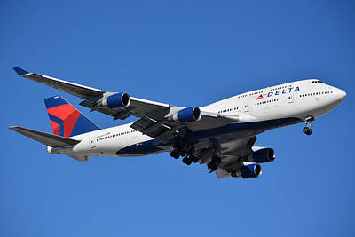 Delta Boeing 747-451 N662us Phoenix Sky Harbor January 12 2015 Art Print by Brian Lockett