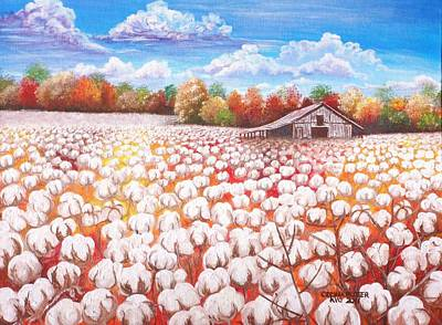 Turning Of The Leaves Painting - Delta Cotton Field With Webb's Barn by Cecilia Putter
