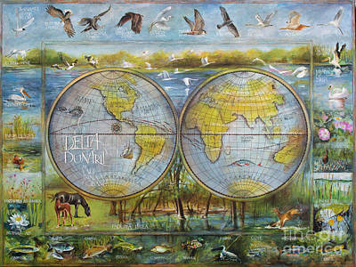 Danube Delta  Map.delta Map Painted On Leather. Original Map.one Of A Kind Map. Art Print