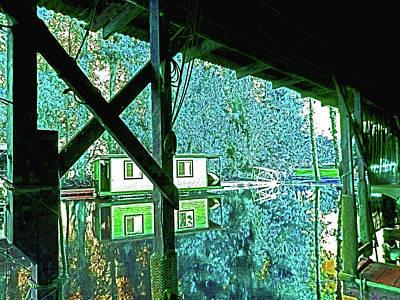 Digital Art - Delta Houseboat Blu-sunrise by Joseph Coulombe