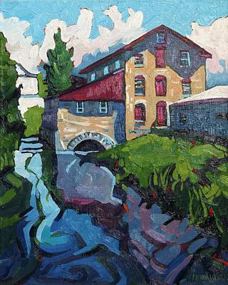 Grist Mill Painting - Delta Mill by Phil Chadwick
