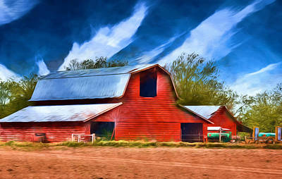 Old Farm Equipment Painting - Delta Red Barn - Rural Landscape by Barry Jones