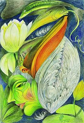 Drawing - Delta -strength Through Fragility -danube Delta 1  by Vali Irina Ciobanu