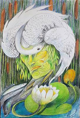 Drawing - Delta-strength Trought Fragility-danube Delta 2 by Vali Irina Ciobanu