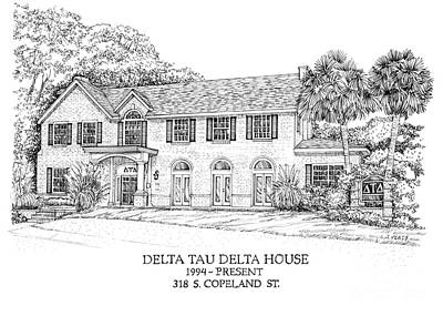 Drawing - Delta Tau Delta House by Audrey Peaty
