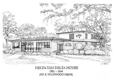 Drawing - Delta Tau Delta Original House  by Audrey Peaty