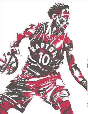 Nba Mixed Media - Demar Derozan Toronto Raptors Pixel Art 6 by Joe Hamilton