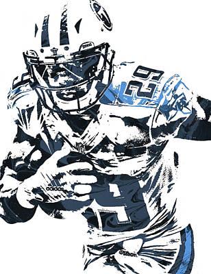 Art Print featuring the mixed media Demarco Murray Tennessee Titans Pixel Art by Joe Hamilton