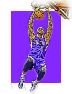 Mixed Media - Demarcus Cousins Sacramento Kings Oil Art by Joe Hamilton