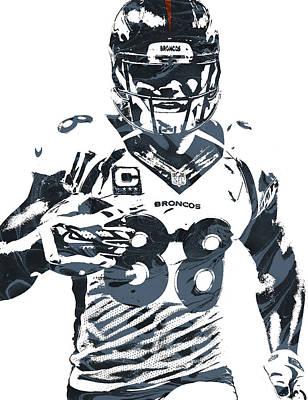 Oil Mixed Media - Demaryius Thomas Denver Broncos Pixel Art by Joe Hamilton