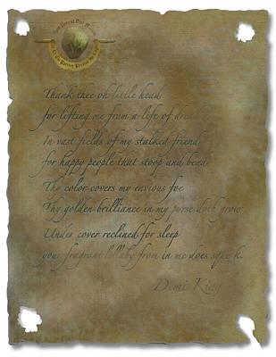 Photograph - Demi King's Love Poem by Ben Kotyuk