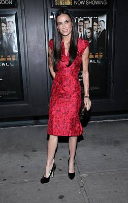 Clutch Bag Photograph - Demi Moore  Wearing A Zac Posen Dress by Everett