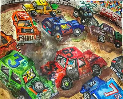 Dodge Painting - Demo Derby One by Jame Hayes
