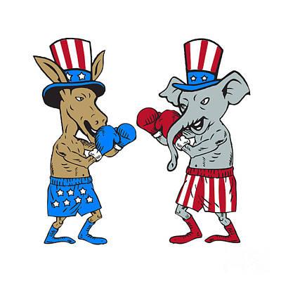 Donkey Digital Art - Democrat Donkey Boxer And Republican Elephant Mascot Cartoon by Aloysius Patrimonio