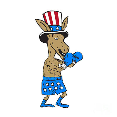 Democrat Donkey Boxer Mascot Cartoon Art Print