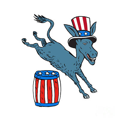 Digital Art - Democrat Donkey Mascot Jumping Over Barrel Cartoon by Aloysius Patrimonio