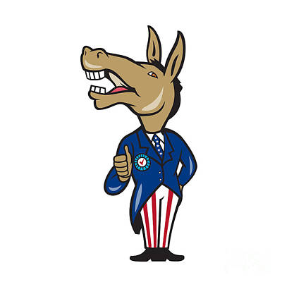 Donkey Digital Art - Democrat Donkey Mascot Thumbs Up Cartoon by Aloysius Patrimonio