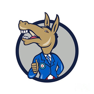 Digital Art - Democrat Donkey Mascot Thumbs Up Circle Cartoon by Aloysius Patrimonio