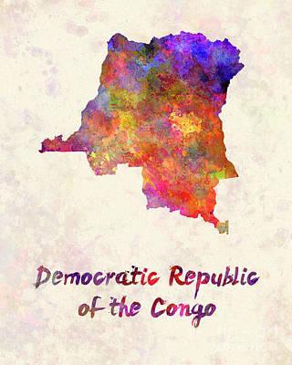 Democratic Painting - Democratic Republic Of The Congo  In Watercolor by Pablo Romero