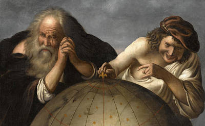 Democritus And Heraclitus Print by After Johannes Moreelse
