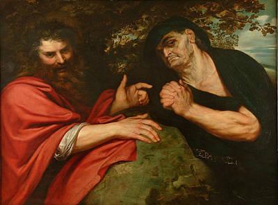 Democritus And Heraclitus Print by Peter Paul Rubens