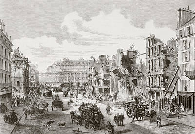 Connection Drawing - Demolition Of Buildings In The Rue De by Vintage Design Pics