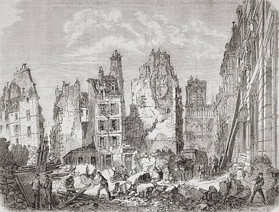 Clearing Drawing - Demolition Work In Paris, France To by Vintage Design Pics