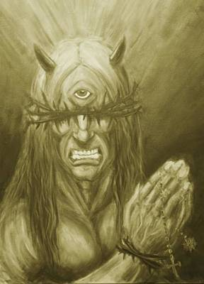 Pop Surrealism Drawing - Demon Christ  by Alaric Barca