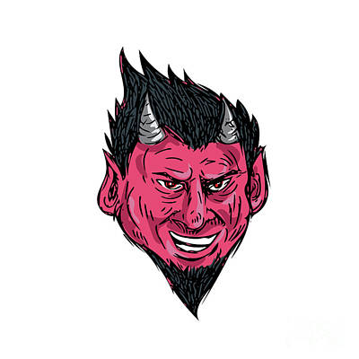 Supernatural Digital Art - Demon Horns Goatee Head Drawing by Aloysius Patrimonio