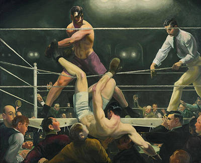 Sports Paintings - Dempsey and Firpo Boxing - George Bellows  by War Is Hell Store