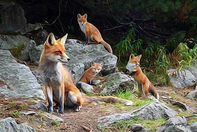 Fox Kit Digital Art - Den Mother by Steve Lockwood